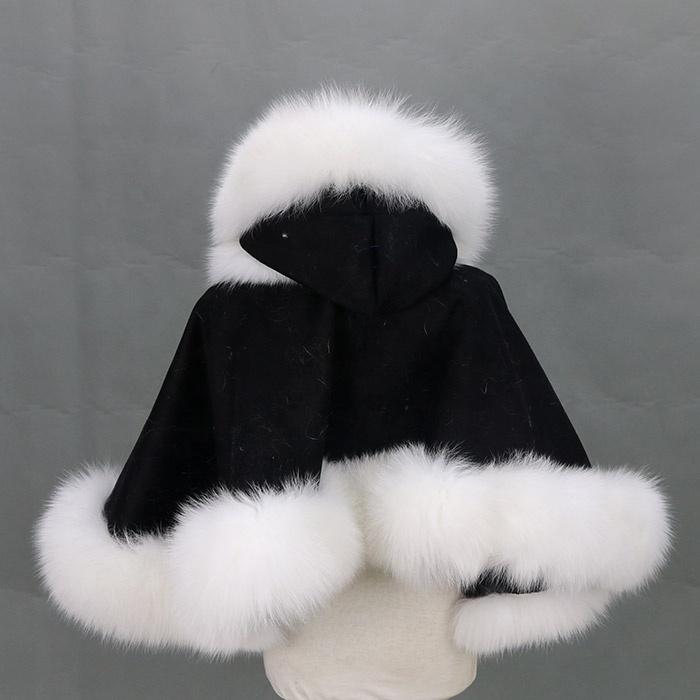 Fashion Wholesale winter children lovely fox fur cashmere shawl cape