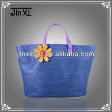 2013 new arrived ladies straw handbags with sun flower