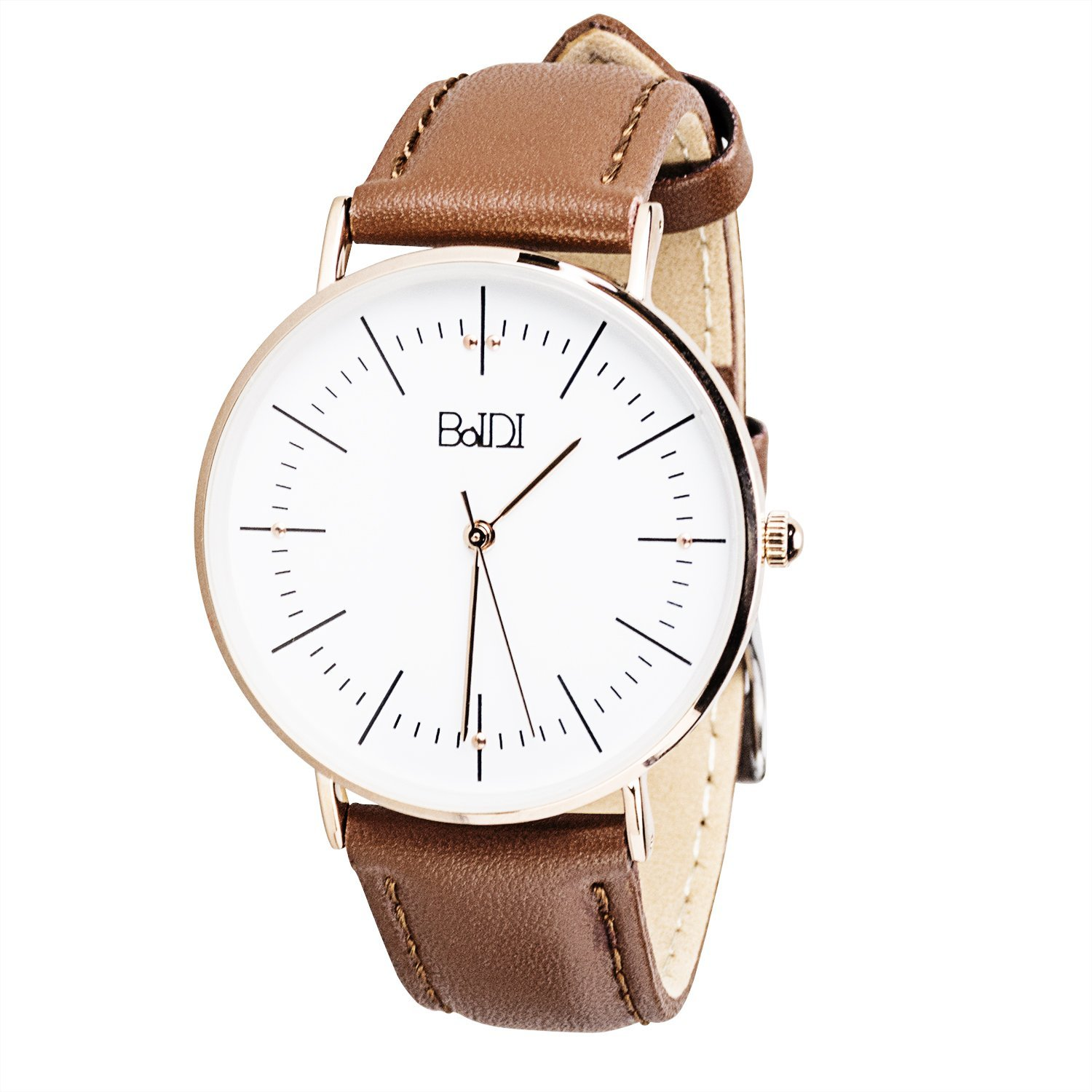 BaIDI Wrist Watch Quartz Watches Womens Daily Use Waterproof Analog Watch with Second Hand & Brown Leather Strap Durable Analogue Watches for Women Girls Ladies