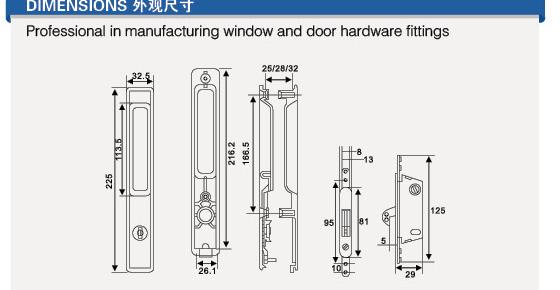 J5 hot sale and low price aluminium window lock with key