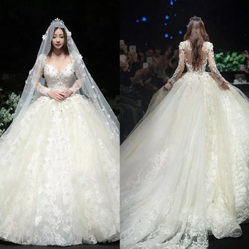 2017 Gorgeous Lace Long Sleeve Princess Cinderella Ball Gown Wedding Dress Bridal