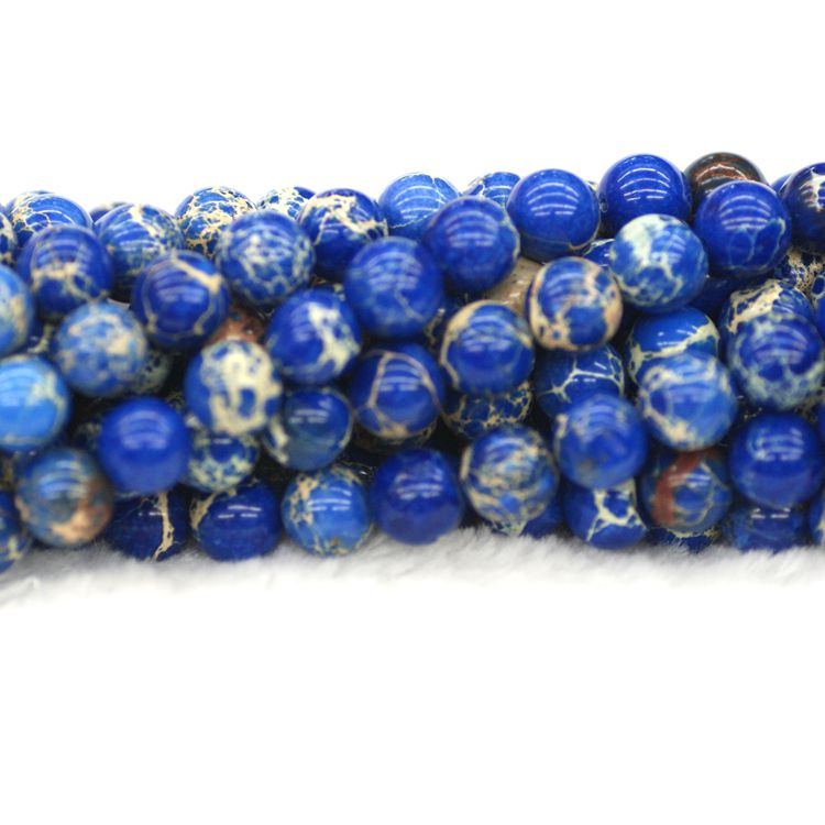 Hot sale 4mm 6mm 8mm 10mm 12mm 14mm blue color impression imperial jasper round Gemstones beads