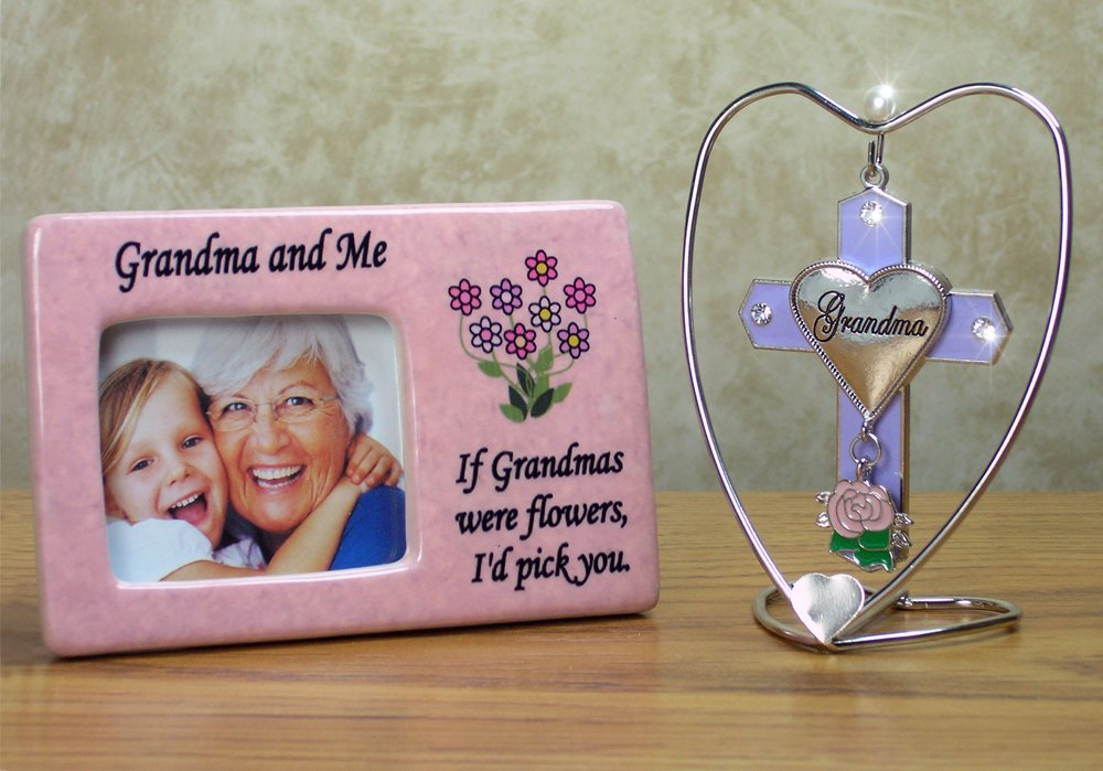 Grandma Picture Frame & Hanging Ornament Set -- Grandma and Me Printed Above the Photo Opening -- If Grandma's Were Flowers, I'd Pick You Is Printed Next to Photo -- Light Pink Frame with Purple and Pink Daisies Makes a Fun Gift for a Grandmother, Grandma, Nana, Grandma-to-be, New Grandmother --