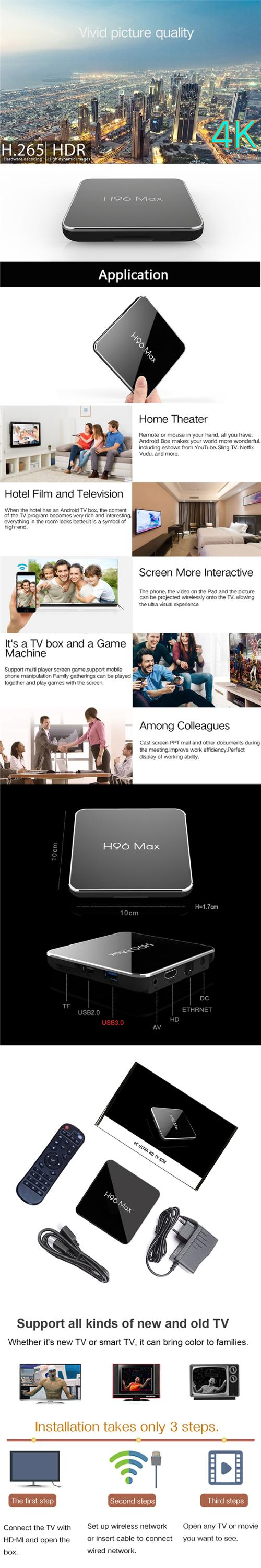 video android amlogic tv box h96 max s905x2 4gb 64gb set-top box smart android tv box amlogic S905X2 ott android 8.1