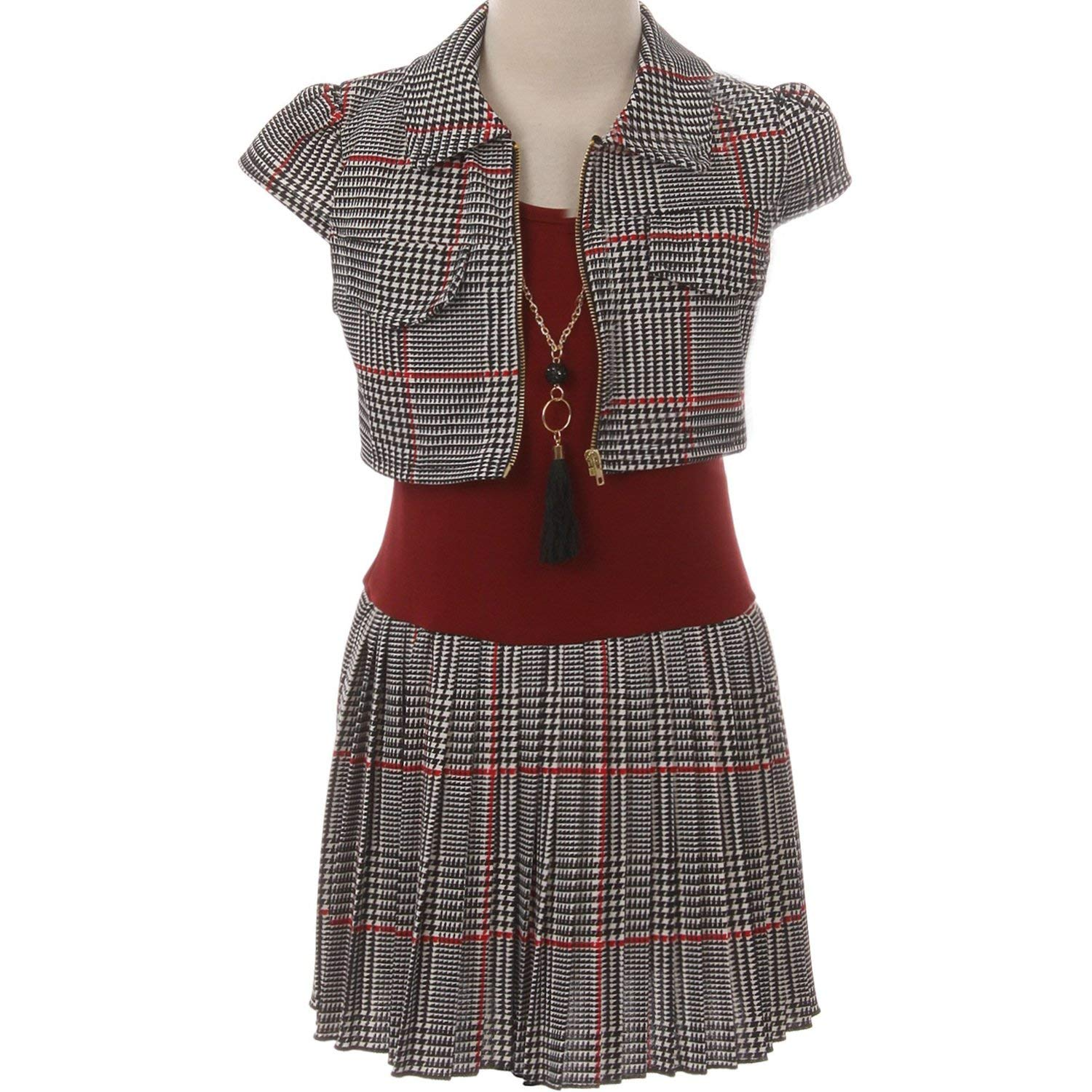 fd3081505c9 Get Quotations · CrunchyCucumber 3-Piece Contrast Plaid Pleated Skirt Cap  Sleeve Tartan Cardigan Necklace Dress