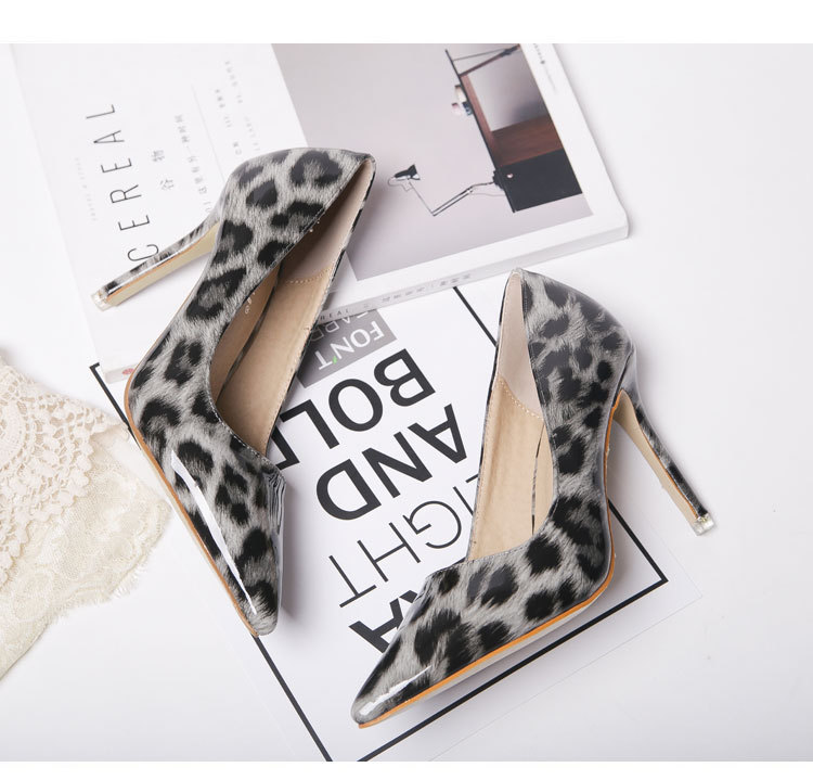 High-heel shoes, Nightclub sexy pointed high heel shoes, Leopard female shoes