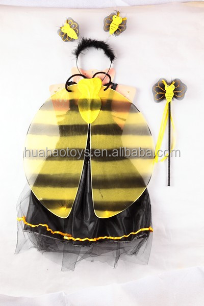 unique design kids fancy wing and one piece skirt set bee cosplay carnival costumes