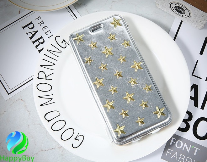 Hot brand FLOVEME metal stars PU leather flip cover cell phone case for iphone6/6s/6plus,7/7plus with excellent quality