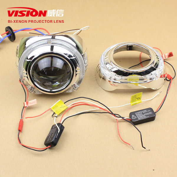 2014 New 12v 35w Car HID Projector Lens with led light guide angel eyes