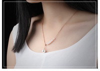 Fancy Rose gold pearl necklace wholesale custom stainless steel jewelry online store
