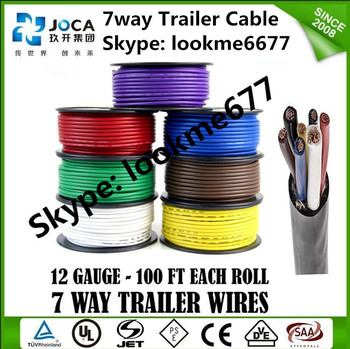 7 Way Trailer Cable 14 Gauge Conductor Wire Rv Cord Trailer Wire ...