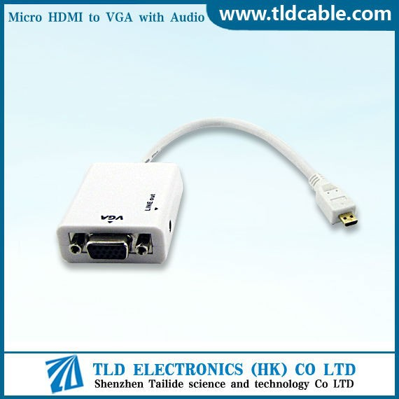 White Micro HDMI to VGA 3.5mm Audio Cable Adapter Convertor