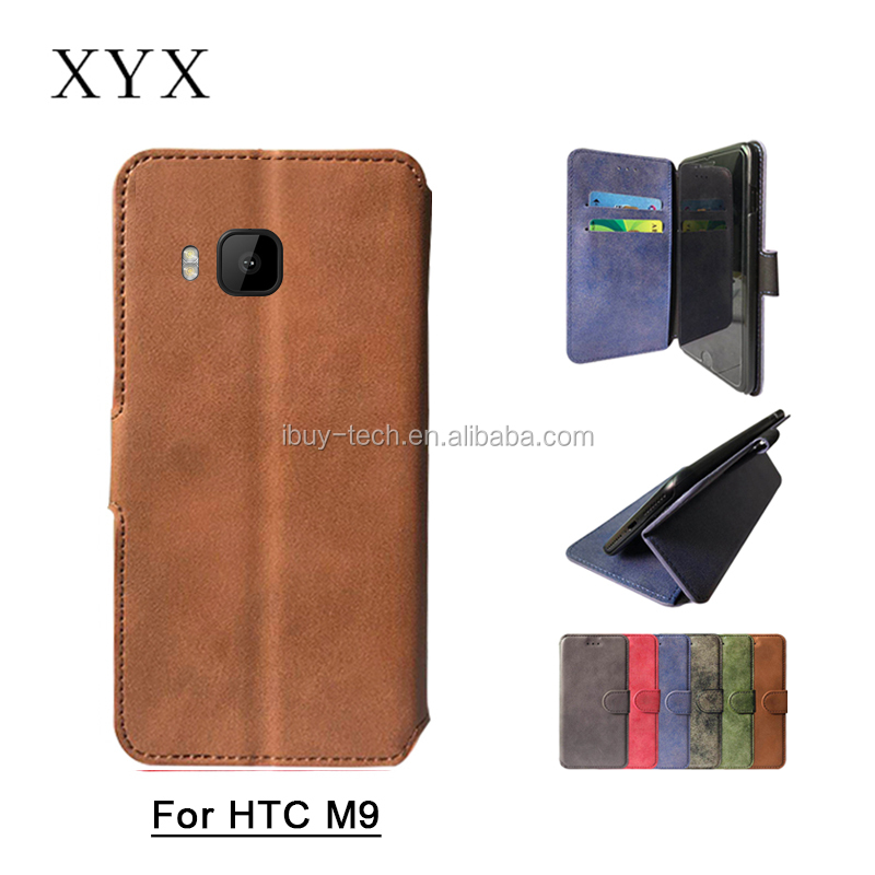 All model in stock frosted leather wallet case for HTC One M9 with magnetic closure HK Exhibition Booth No 11K20