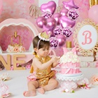 Baby girl little princess happy birthday party party cute color heart shaped star latex balloons