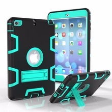 Contrast color With stand 3in1 TPU and PC hard Strong Combo back shell Shockproof Case for ipad mini 2 3 4 Cover