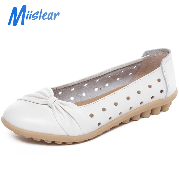 TPR Sole Genuine Leather Upper Ladies Flat Shoes Made In China