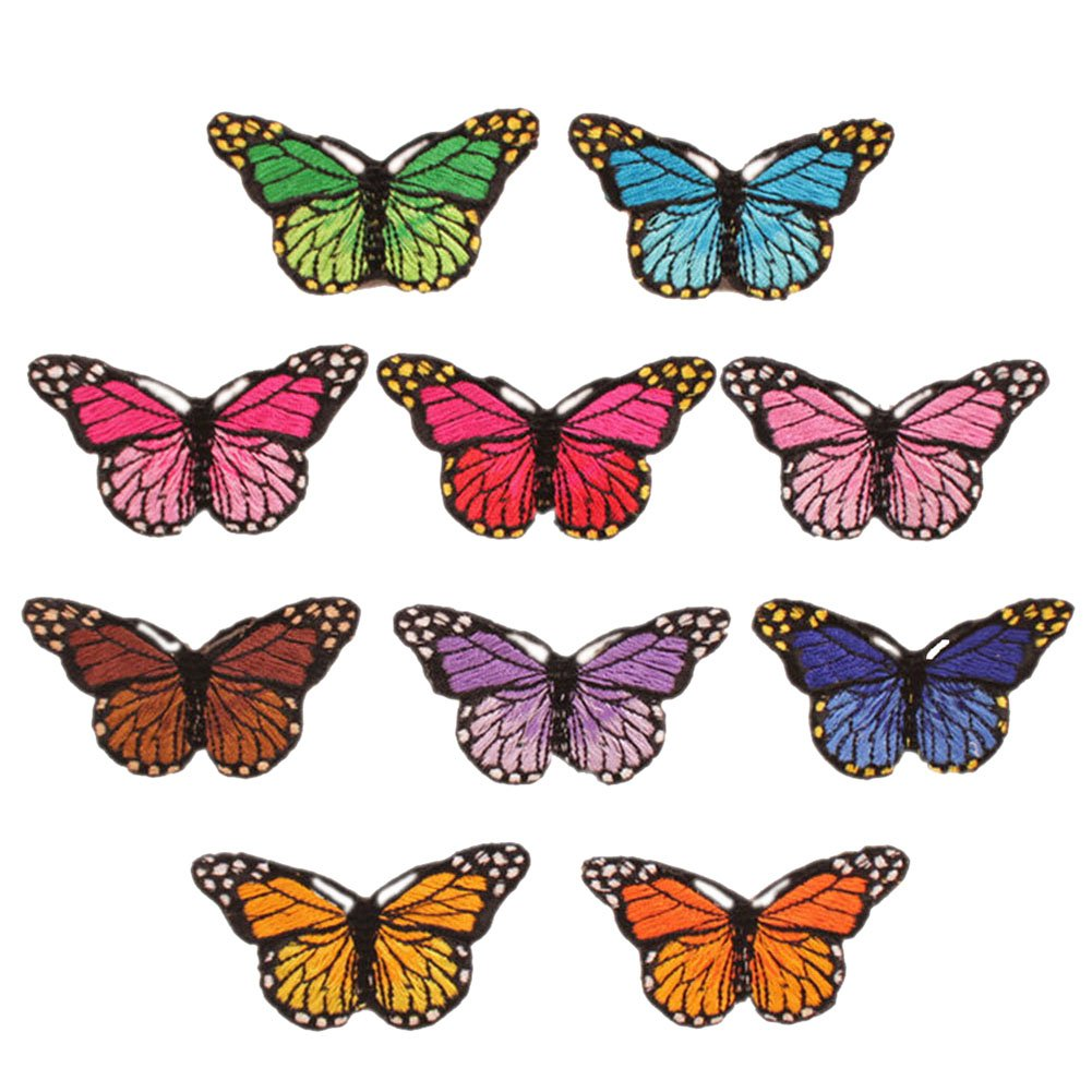 ESHOO 10 Pieces DIY Butterflies Embroidery Applique Patches Sew on Clothing, Bag, Curtain Applique