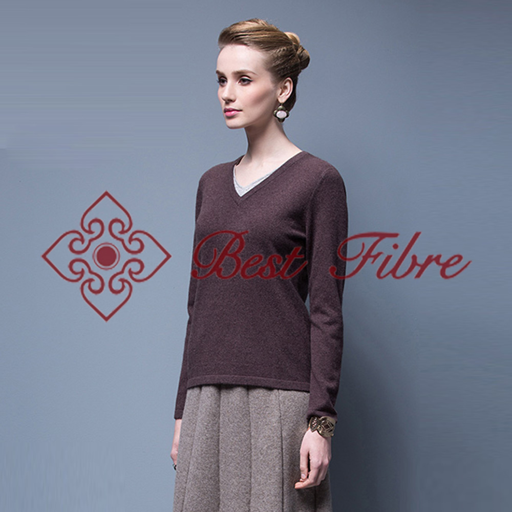 Cashmere Lady Classic V-neck pullover nobel style pure yak down winter sweater/knitwear
