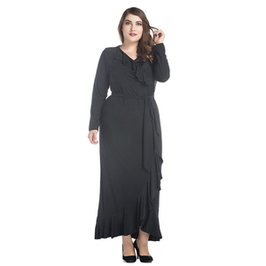 Zakiyyah 7032 Wholesale Plus Size Long Casual Dress Black Abaya with Belt Indonesia Clothing