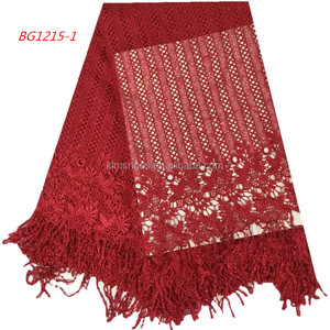 Red Lace Fabric Mesh Lace Fabric Cord Laces For Nigerian Party 1017
