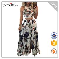 Trendy Floral Crop Top Split Two-Piece Maxi Skirt