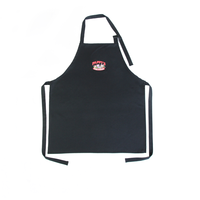 Black Embroidery Three Pockets Organic Cotton Aprons with adjustable Neck Tie
