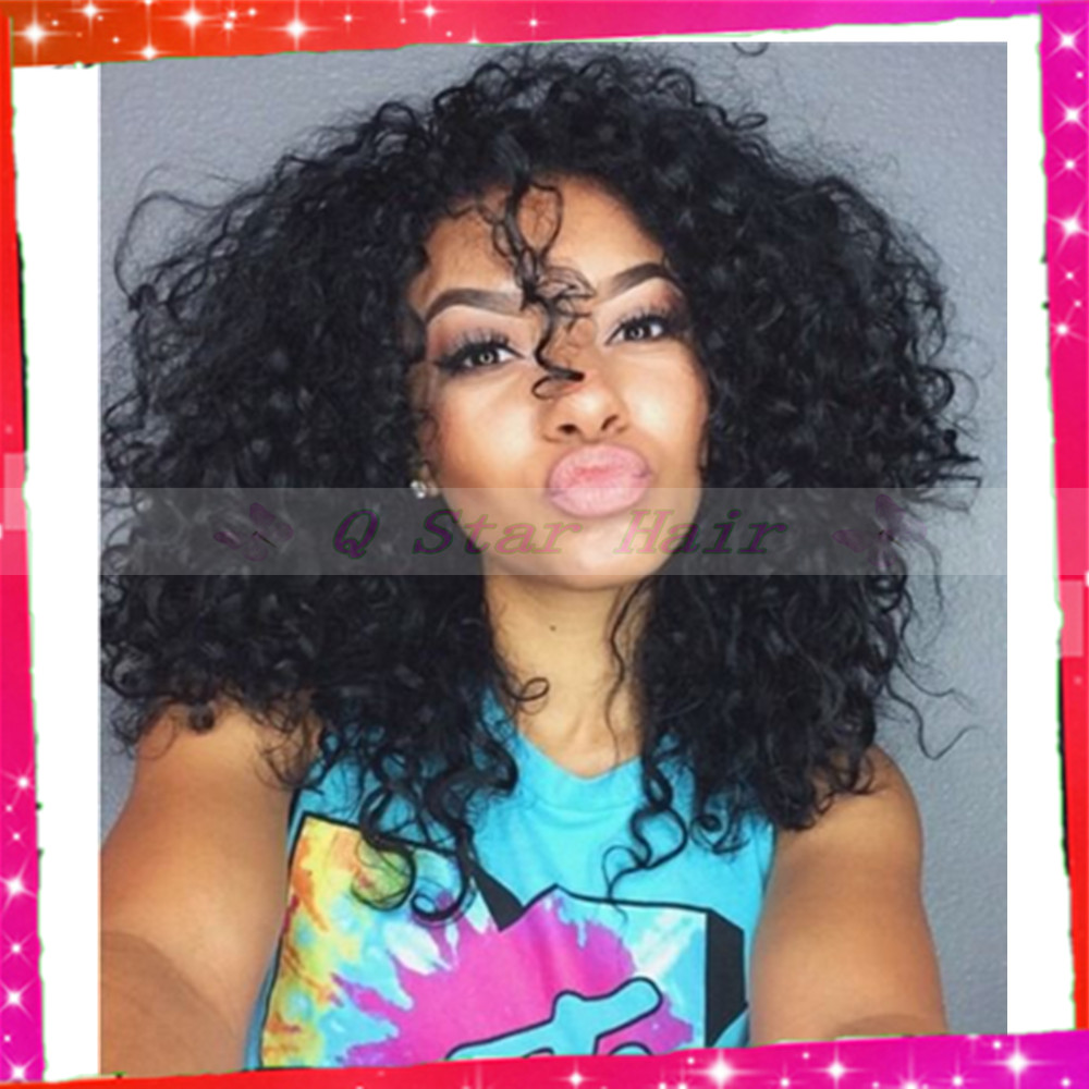 Best Quality Mongolian Curly Glue Less Full Lace Human Hair Wigs with baby hair around natural