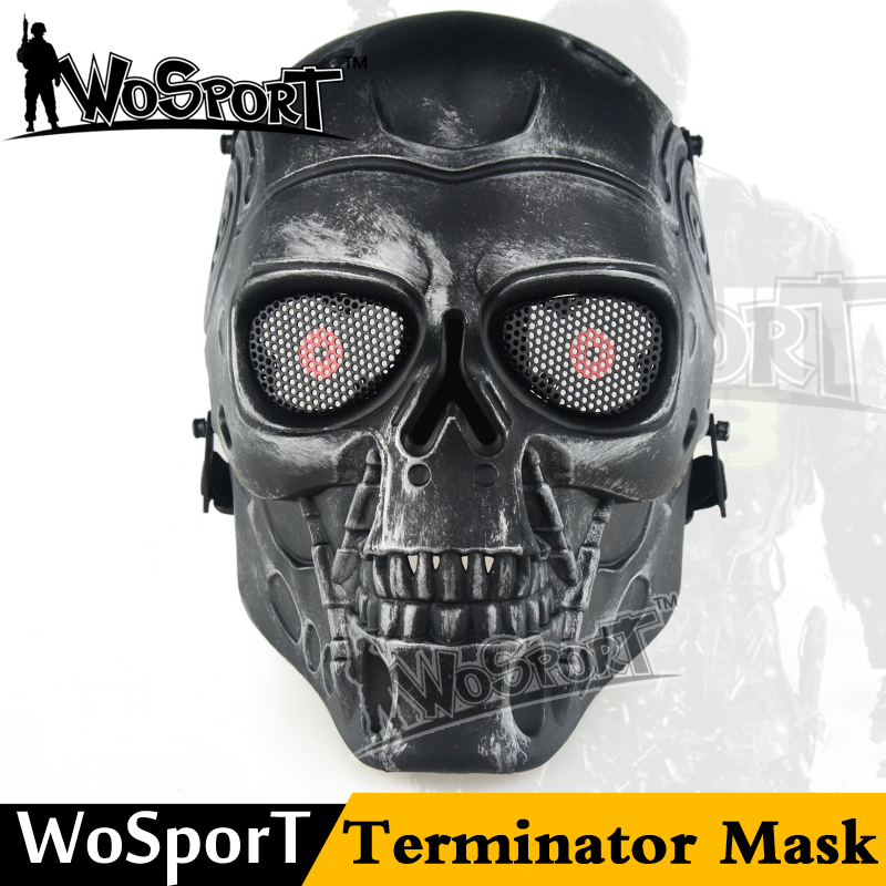 WoSporT Terminator Airsoft Skull Mask Full Face Skeleton Safety Silver Steel Wargame Army Field Game Halloween Party Movie Prop