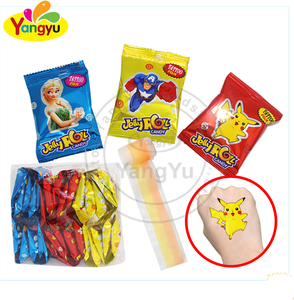 Halal candy cute cartoon tattoo fruity flavors roll jelly candy