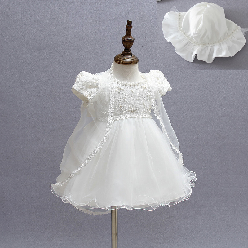 233422886 Newborn Christening Gown Party Wedding Dress with Bonnet and Cape Elegant  Baptism Dresses for 1 year girl baby birthday3Pcs/Set