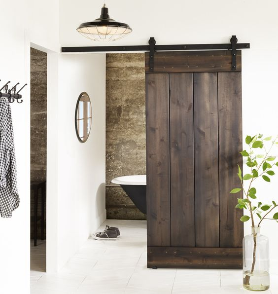 Rustic Style V-Groove Knotty Alder Interior Sliding Plank Barn Doors with Hardware