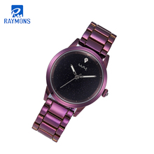 Raymons gift classic stainless steel watch women luxury watches 총총 <span class=keywords><strong>sky</strong></span> <span class=keywords><strong>blue</strong></span> purple