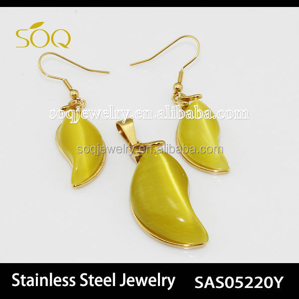 Sas05220y Fashion Stainless Steel Pendant & Earrings With Yellow ...
