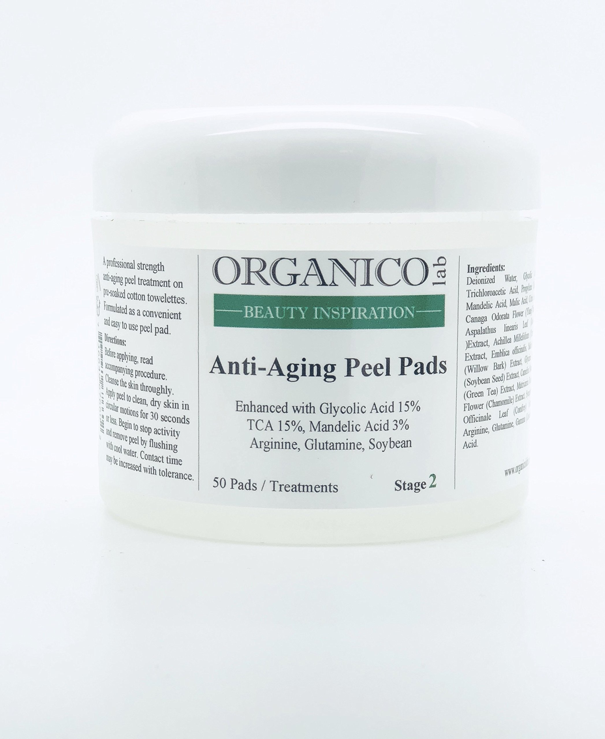 ORGANICOLAB, Anti-Aging Peel Pads Enhanced with Glycolic Acid 15% | TCA 15% | Mandelic Acid 3% | Arginine | Glutamine | Soybean, STAGE 2, 1 Fl.oz