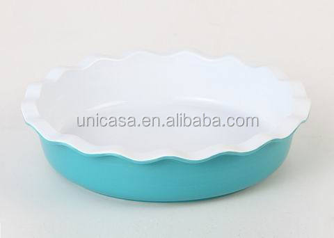 UNICASA Ceramic coated Pie Pan, white inside