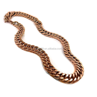 Mens Rose Gold Stainless Steel Miami Cuban Thick Link Chain Necklace 19mm