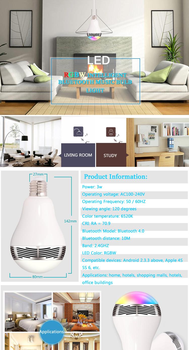 Led Smart Light Bulb Lamp Wireless Blue Tooth 4 0 Speaker