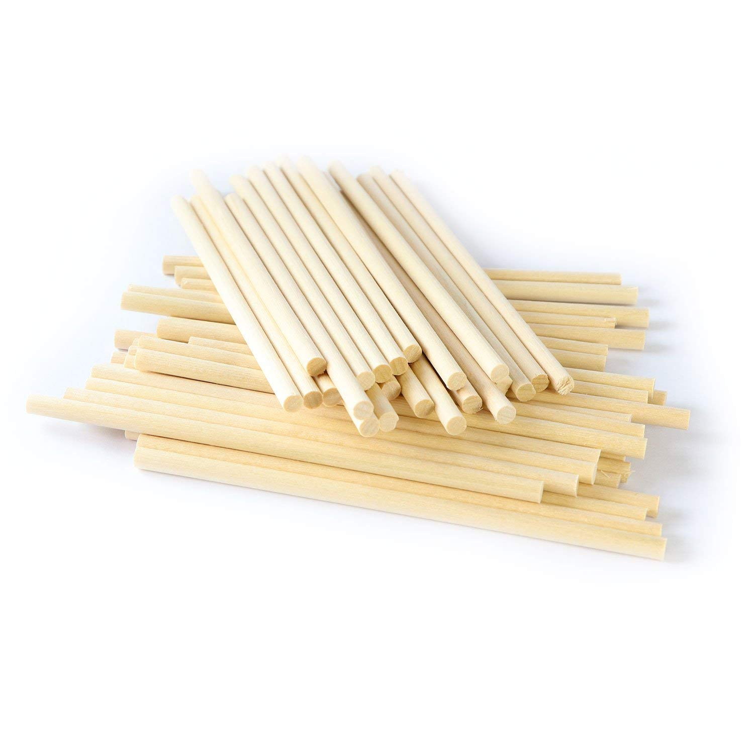Wooden Dowel Rods for Craft - 1/4 x 6 inch (150mm-6mmØ) - 50 pcs Dowels for Model Building, Games, Kids Crafts, Handmade Gifts, Home Decor