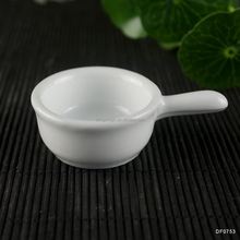 white ceramic water ladle short handle big bowl porcelain soup spoon