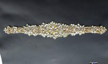 Fantasia strass applique guarnizione con oro piastra per fascia