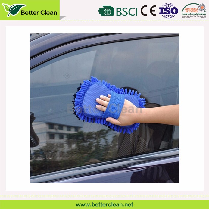 With tie belt chenille surface for car wash cleaning pad foam sponge