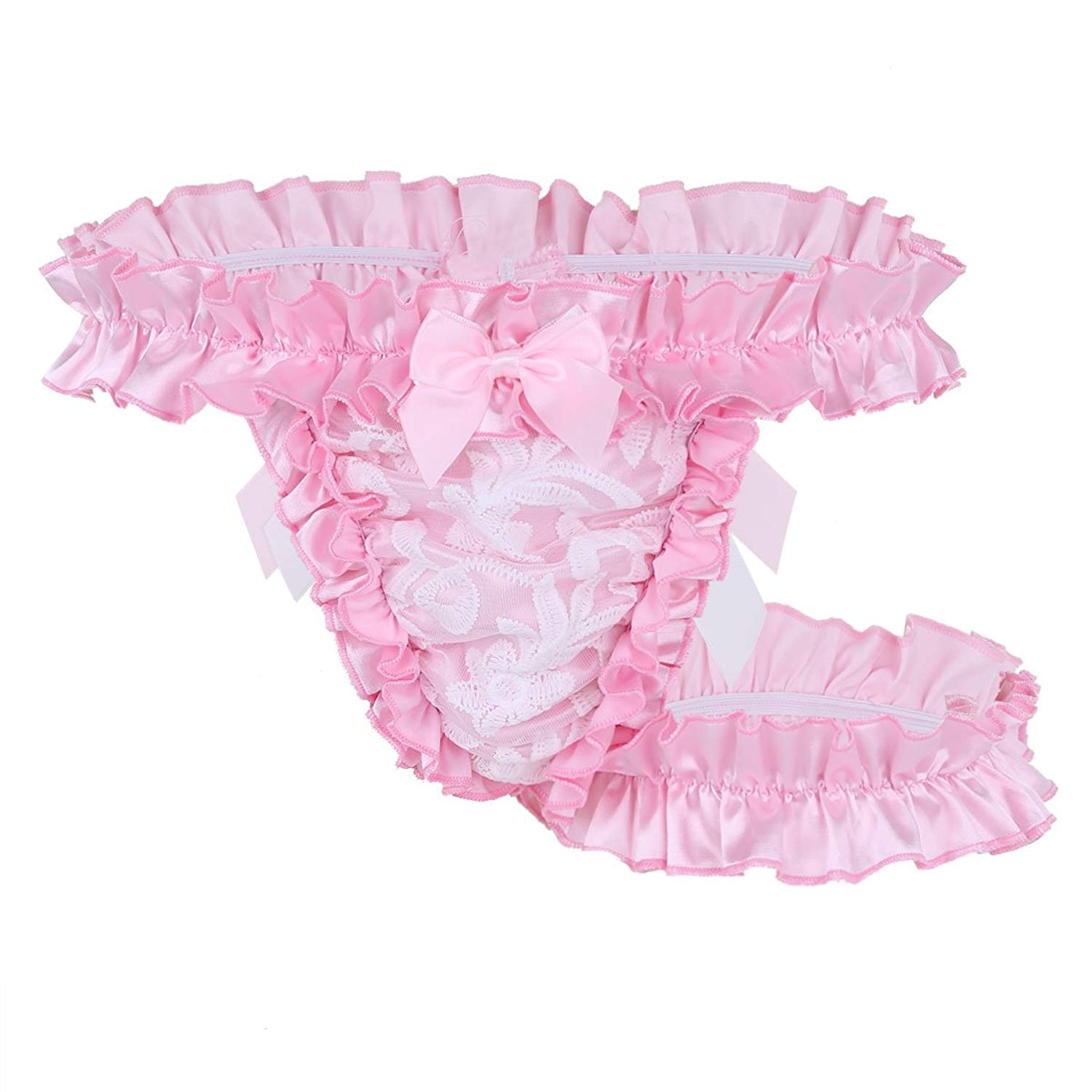 aa7c2cc88d25 Get Quotations · MSemis Men's Ruffle Frilly Satin Lace Sissy Maid Briefs  Underwear Tutu Knickers Crossdres Panties