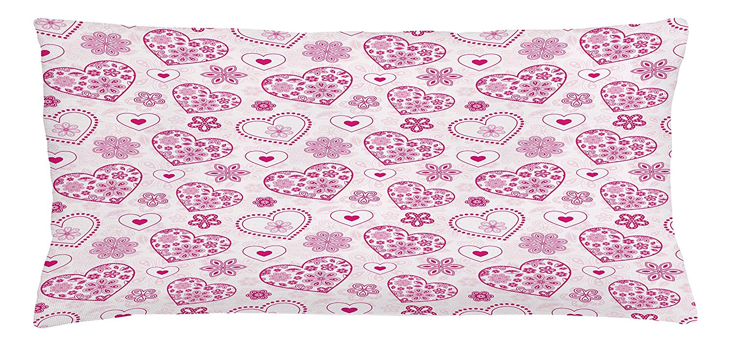Hearts Throw Pillow Cushion Cover by Lunarable, Vibrant Colored Hearts Floral Arrangement Abstract Shapes Pattern Nature Theme, Decorative Square Accent Pillow Case, 36 X 16 Inches, Pink Pale Pink