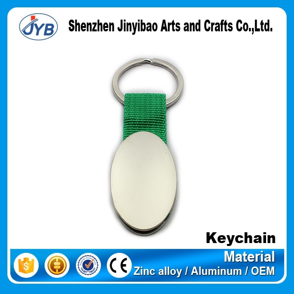 customized logo oval shape metal keyring cord cotton tape key chains