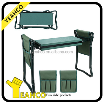 Folding Garden Kneeler Seat Bench Stool With Kneeling Pad And Two Tool  Pouches   Buy Garden Kneeler,Bench Stool,Folding Seat Product On Alibaba.com