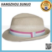 cheap natural grass unisex fedora straw hat with ribbon