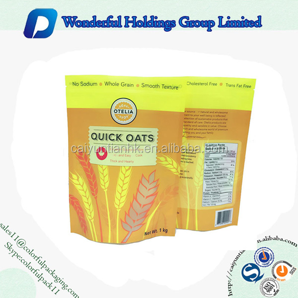 500g 1000g oats packaging bag stand up zipper bag with ziplock