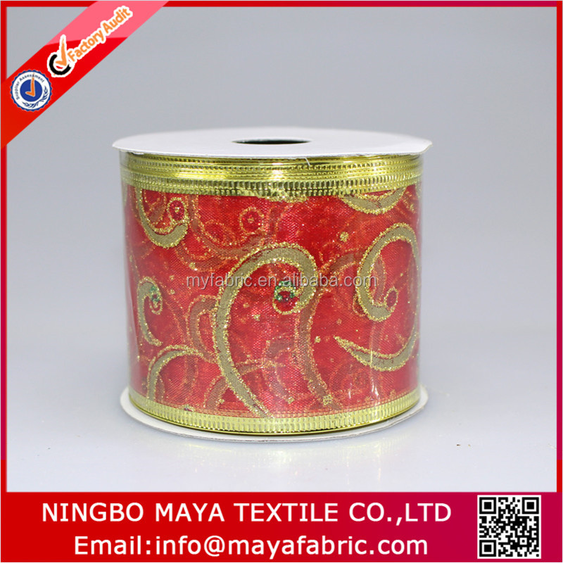 Wired edged red decorative merry christmas ribbon for decoration