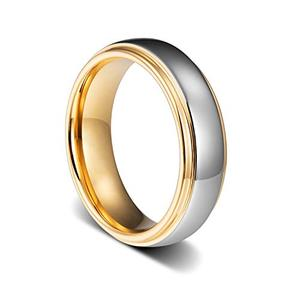Custom 8mm Men Tungsten Carbide Brushed Rose Gold Wedding Ring