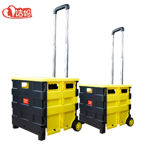 Wholesale Foldable Plastic Handle Shopping Food Trolley Carts Carry Folding Hand Push Shopping Cart With Wheels